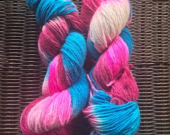 Fingering/Sock weight yarn - 80 Wool 20 Angora - 219 yards - Candy Stripes