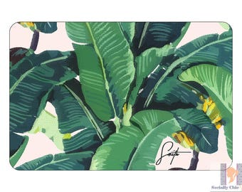 Tropical Banana Leaf Modern Monogram Tray. A unique and stylish hostess or birthday gift! Custom colors available! Entertain with style!
