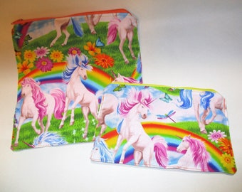 Bright  Rainbow Unicorns Reusable X-Large Sandwich 8x8 or snack bag 5x8 cotton top food grade pul inside (can be used as wet bags)