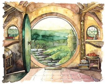 "Bag End Painting, Watercolor Painting, Lord of the Rings, The Hobbit, The Shire, Hobbiton, Tolkien, Print titled, ""In a Hole in the Ground"""