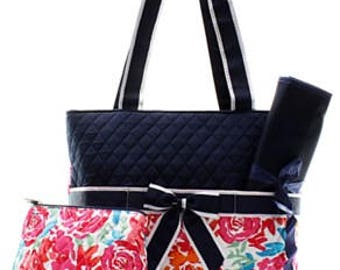 Quilted Flower Garden 3pc Diaper Bag Set with free monogram