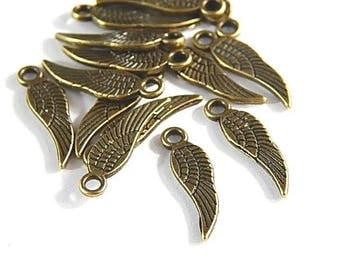 Small bronze 17x5mm feather wings charms