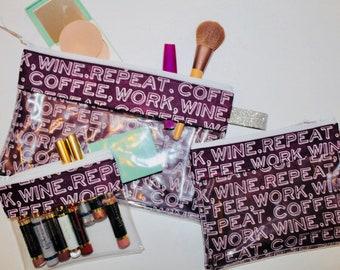 Coffee. Work. Wine. Repeat. - Vinyl-lined Cosmetic Bags