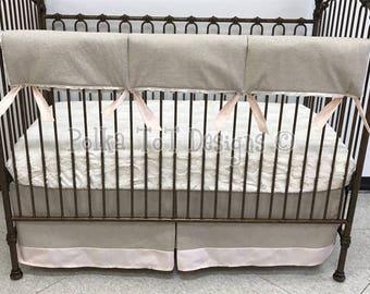 Natural Linen & Minky Hide Gender Neutral/Unisex Bumperless Baby Bedding: Chandler