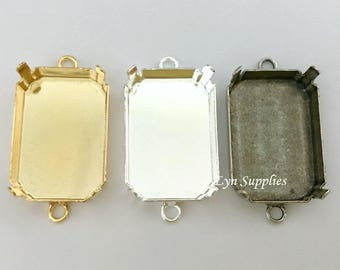 Octagon Connector Tray 27x18.5mm Gold / Silver / Antique Silver Plated 2 Loops Nickel Free Settings, Fit Swarovski Crystal 4627