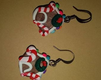 Gingerbread houses polymer clay tiny earrings. Christmas earrings