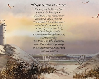 Memory of Mom, Sympathy Gift, Memorial Day Gifts, Condolence Gift, Lighthouse Memorial Gift, Sympathy Poem, In Memory Gift, Loss of Mother