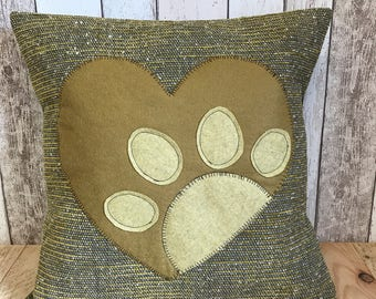 Heart and paws - mustard yellow, brown and grey textured fabric, paw print cushion