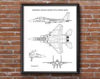 Aircraft blueprint etsy f 15e blueprint aircraft blueprint f 15e strike eagle instant download malvernweather Gallery