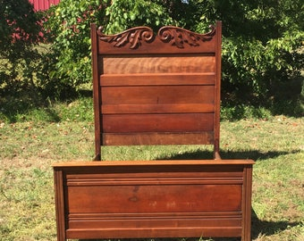 BED, Antique vintage full size double headboard solid wood thick carved ornate details leaves CUSTOM painted FREE delivery to most places