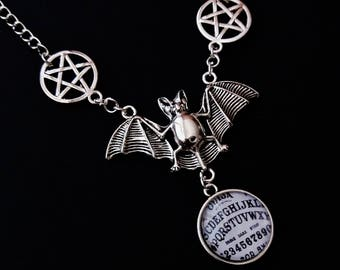 gothic bat necklace - gothic choker - goth jewelry - nu goth - ouija necklace