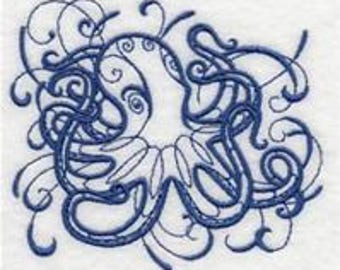 embroidered Hand towel - intricate ink octopus - many colors available