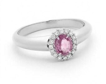 0.12ct Pink Sapphire & Diamond Halo Ring