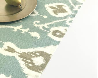 Ikat, Table Runner, Blue, Green, Brown, Cream, Pattern, Dining, Wedding, Tablecloth, Teal, Kitchen, Table Runner
