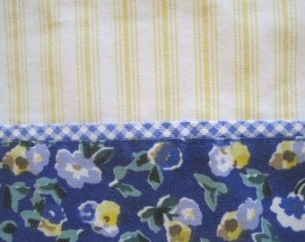 Lovely Laura Ashley Pillowcase, Primrose, Polyanthus, Yellow Stripes, Gingham, Vintage, Made in USA, Cotton/Poly