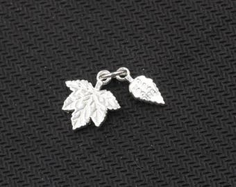 15mm Sterling Silver Small Maple Leaf Pendants -- 925 Silver Charms Wholesale For Bridesmaid Gift Party XXSP-S0320