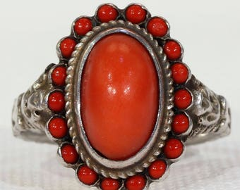 Antique Austro-Hungarian Coral Ring Size 7.75