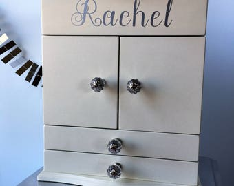 Pottery Barn Kids Abigail Jewelry Box: Dresser OFF-WHITE with personalization