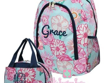 Kid Personalized Backpack and Lunch bag Monogrammed Rose Floral Backpack and Lunchbox Girl Monogrammed Backpack and Lunchbox