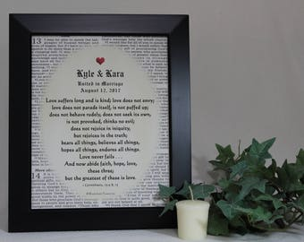 Christian Wedding, Marriage Gifts, Remembrance Gift, Personalized Wedding Gift, Marriage Prayer, Wedding Bible Verse, 8x10 inch Framed NKJV