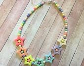 Fairy Kei Pastel Star Beaded Necklace (rainbow themed)