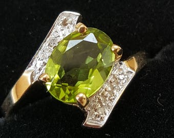 Vintage Peridot and Diamond Assymetic Gold Ring, Engagement Ring or Dress Ring