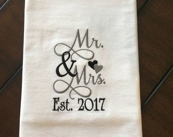 Mr and Mrs Tea Towel - Personalize your colors