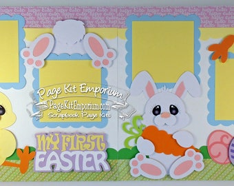 Scrapbook Page Layout Kit First Easter Spring Bunny Chick Boy Girl Baby 2 page Scrapbook Layout Kit 25