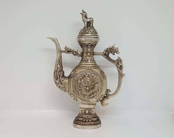 Chinese Ming Dynasty Ewer - Antique Ewer - White Metal Ewer - Antique - 1600s - Chinese Ewer - Ewer
