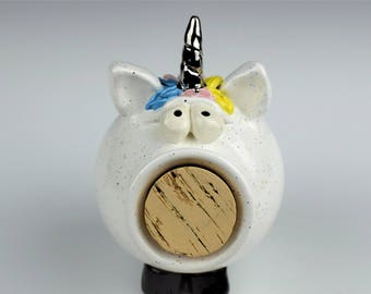 Hand-Thrown Pottery Unicorn Piggy Bank -- In Stock and Ready to Ship