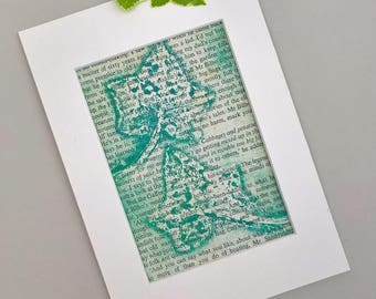 Monoprint: bottle Green Ivy Leaves imprint on ' ...at the Green Dragon' original nature printmaking, recycled page Fellowship of the Ring