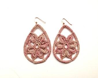 uncintto crochet Flower Pink-pink earrings earings
