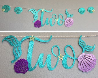Two Banner, high chair table, Little Mermaid Ariel, Mermaid Letters, Happy Birthday Under The Sea Party Decor, gold starfish, Sea Shells fin