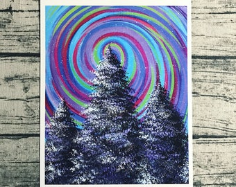 Psychedelic art, trippy art, colorful swirl landscape tree 8.5 x 11 quality painting print