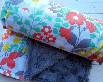 Minky baby blanket-Personalized girls gray faux fur minky baby blanket in floral print-personalized minky baby blanket with applique name