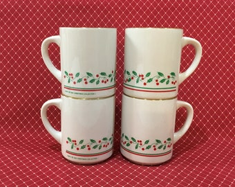 Christmas Mugs from Arby's ~1987 ~ Holly & Berries ~ Set of 4 with Gold Rims ~