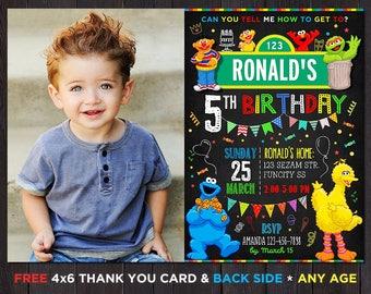 Sesame Street Birthday Invitation, Sesame Street Invitation With Photo, Sesame Street Party, Birthday Invitation For Boys With Picture