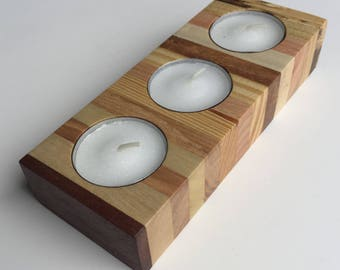 Reclaimed Pallet Wood Tea Light Candle Holder