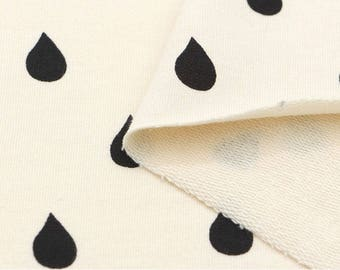 French Baby Terry Knit Fabric Raindrops Cream By The Yard