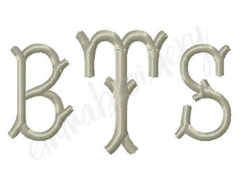 """5 Sizes Branches Monogram Machine Embroidery Font - 1"""" 1.5"""" 2"""" 2.5"""" 3"""" - 8 File Formats PES JEF DST - Satin Stitch Instant Download"""