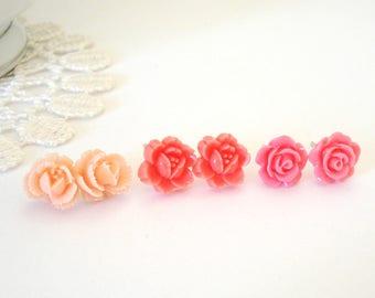Pink Rose Posts, Flower Girl Earrings, Floral Stud Earrings, Little Flower Earrings, Bridesmaid Post Earrings, Gift for Her