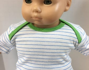 "15 inch Bitty Baby BOY Clothes, Top Only, ""Blue-White Stripe Green Trim"" Top, 15"" AG Doll Bitty Baby Boy or Twin Boy, Top Only- 4.00 Dollars"