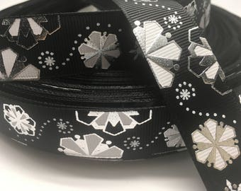 "3 yards 7/8"" Christmas Black Metallic SNOWFLAKE Grosgrain Ribbon"