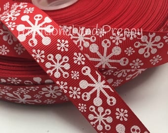 "3 yards 7/8"" Christmas Glitter modern white on red snow snowflake grosgrain ribbon"