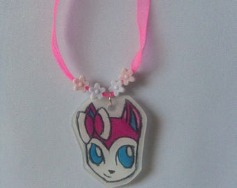 child necklace - pokecat - sylveon-cartoon
