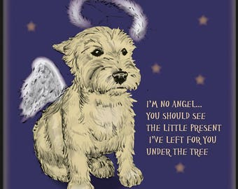Angel West Highland Terrier Christmas Card