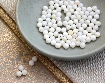 White Shell Beads, 6mm Shell Beads, Round, Natural Shell Beads, Small White Ball Beads, Pure White Spacer Beads, 12 Beads, MPM17-1117b
