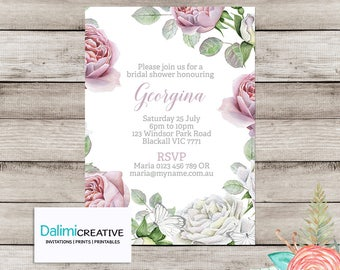 Bridal Shower Invitation - Floral Shower Invitation - Pink and Grey - Printable Invitation - Hens Party - Rustic Invitation!