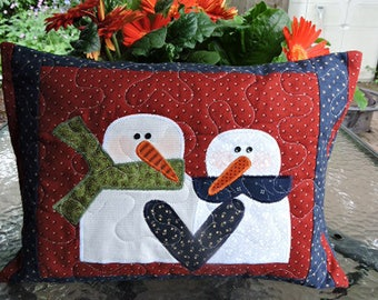 "Quilted Appliqued Snowman Pillow in Burgundy, White, Blue and Green   17"" x 13"""