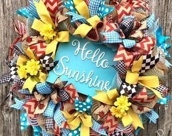Hello Sunshine Wreath, Summer Wreath, Everyday Wreath, Whimsical Wreath, Summer Decor, Gingham Wreath, Spring Wreath, Ladybug Wreath